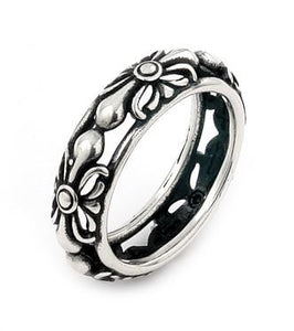 TWISTED BLADE SILVER FLORAL BAND RING