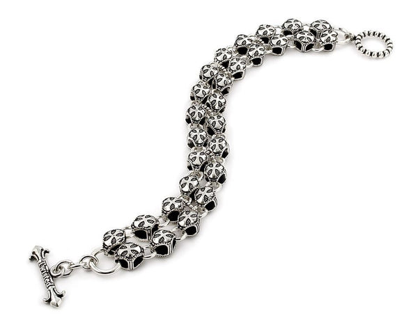 TWISTED BLADE SILVER ROUND CROSS DOUBLE LINK BRACELET