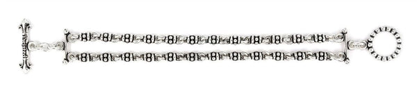 TWISTED BLADE SILVER 2 ROW STUDDED LINK BRACELET