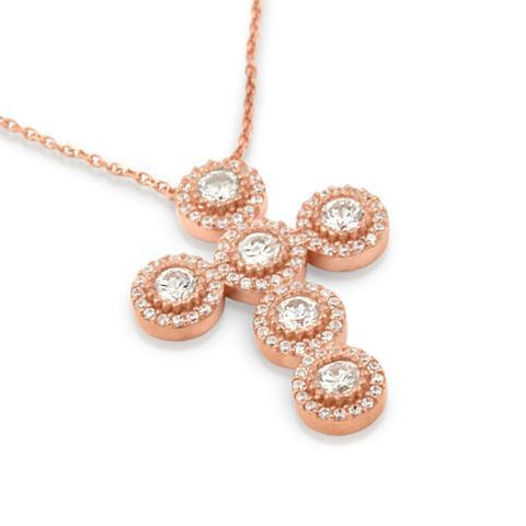"ROSE GOLD PLATED CZ ROUNDED CROSS NECKLACE 16""+1"" ADJUSTABLE"