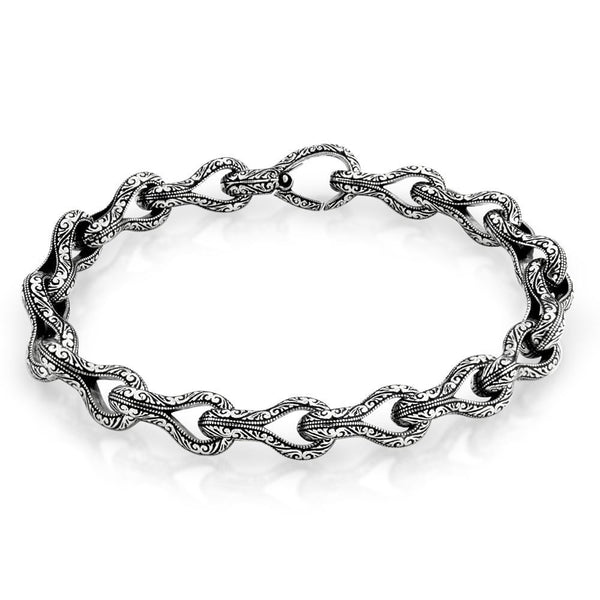 TWISTED BLADE SILVER ENGRAVED LINK BRACELET