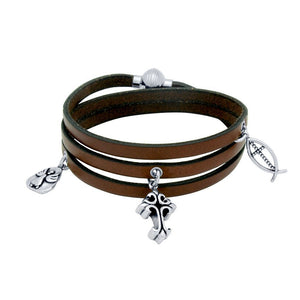 FAITH LEATHER WRAPPED CHARM BRACELET