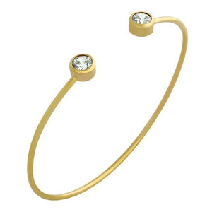 GOLD PLATED WIRE BANGLE WITH 5MM CZ ROUNDS