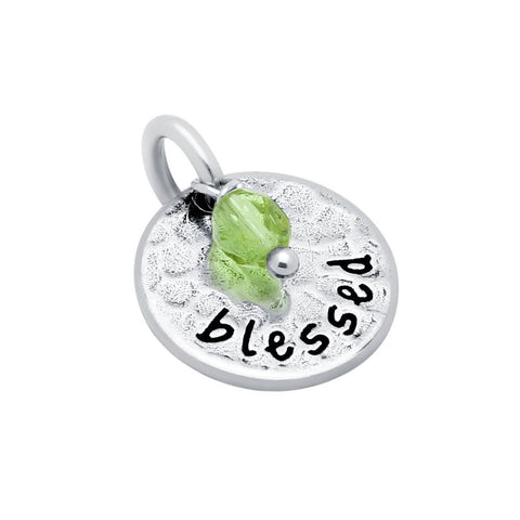 "ROUND 14MM ""BLESSED"" CHARM WITH LIGHT GREEN CRYSTAL BEAD"