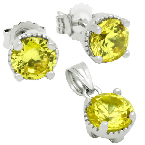 RHODIUM PLATED NOVEMBER BIRTHSTONE CITRINE YELLOW ROUND CZ SET PENDANT AND EARRINGS