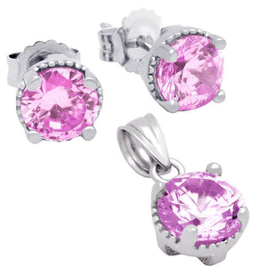 RHODIUM PLATED OCTOBER BIRTHSTONE TOURMALINE PINK ROUND CZ SET PENDANT AND EARRINGS