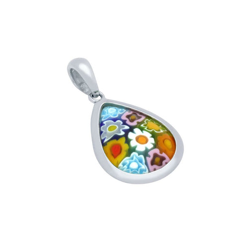 MULTICOLOR MURANO MILLEFIORI 20X14MM DOUBLE-SIDED DROP PENDANT
