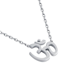 "RHODIUM PLATED HIGH POLISHED OM NECKLACE 16"" + 2"""