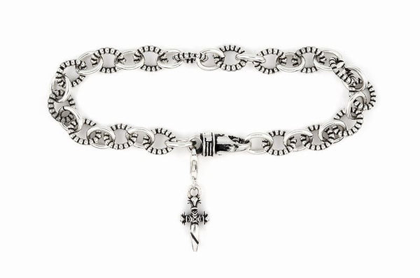 TWISTED BLADE SILVER BEADED BRACELET WITH DANGLING DAGGER CHARM