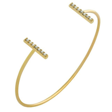GOLD PLATED WIRE BANGLE WITH CZ BARS