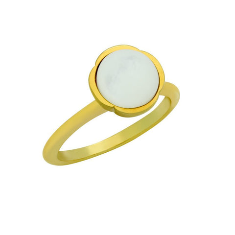GOLD PLATED RING WITH 8MM CABOCHON MOTHER OF PEARL
