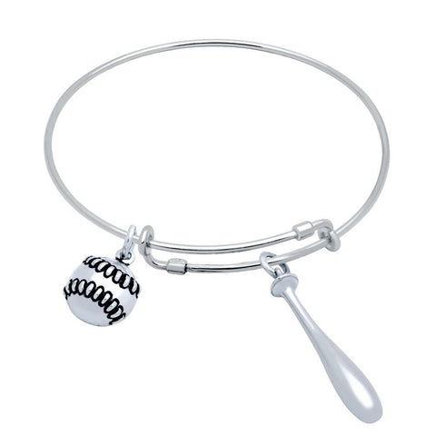 STERLING SILVER EXPANDABLE BASEBALL CHARM BANGLE