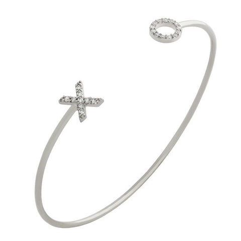 RHODIUM PLATED WIRE BANGLE WITH CZ XO