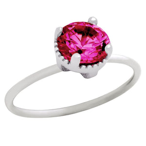 RHODIUM PLATED JULY BIRTHSTONE RUBY RED ROUND CZ RING