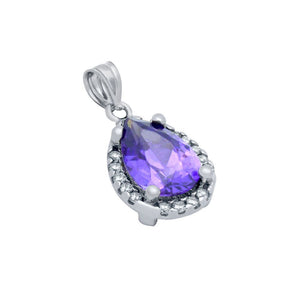 RHODIUM PLATED PURPLE TEARDROP CZ PENDANT WITH ALL AROUND CLEAR CZ STONES