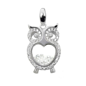 FLOATING CUBIC ZIRCONIA PAVE CZ OWL PENDANT