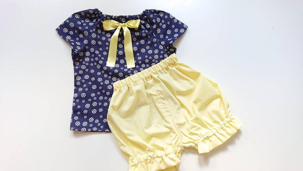 1eb16af88 Beautiful Summer Daisy Flowers cotton Baby's girl's Top and Bloomer set Cute  Baby Set Baby Girls