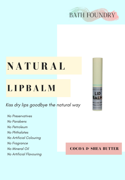 Natural Lip Balm | Cocoa & Shea Butters & Vitamin E | No Preservatives | Moisturise & soothe dry chapped lips