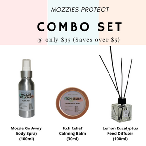 Mozzie Protect Combo - Body Spray (100ml), Itch Relief Balm (30ml) and Lemon Eucalyptus Reed Diffuser (100ml)