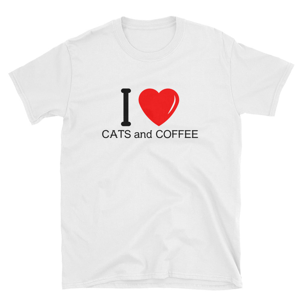 I Heart Cats And Coffee 100% Cotton T-Shirt