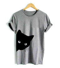 Load image into Gallery viewer, Cat Peeking Women's Cotton T-shirt