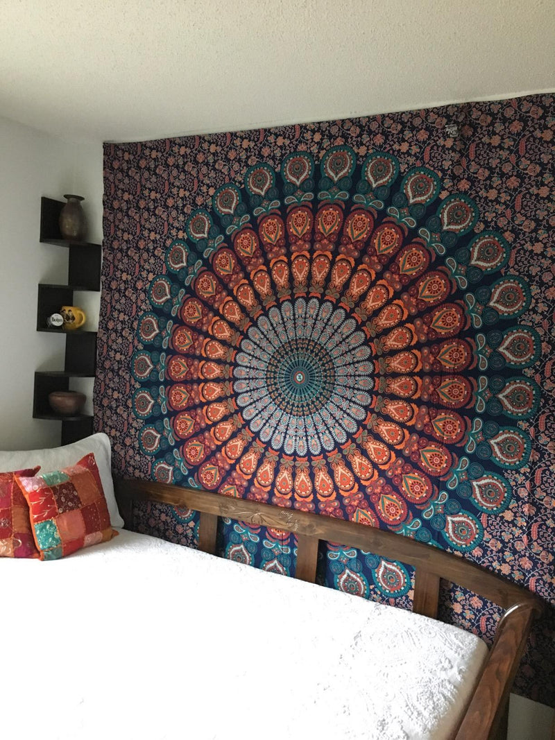 Red Feather Mandala Tapestry - dormcy