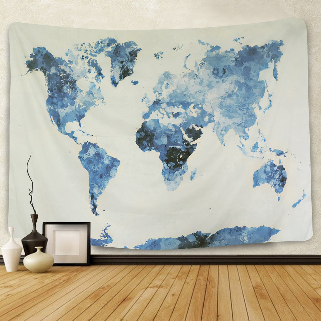 Blue World Map Tapestry - dormcy