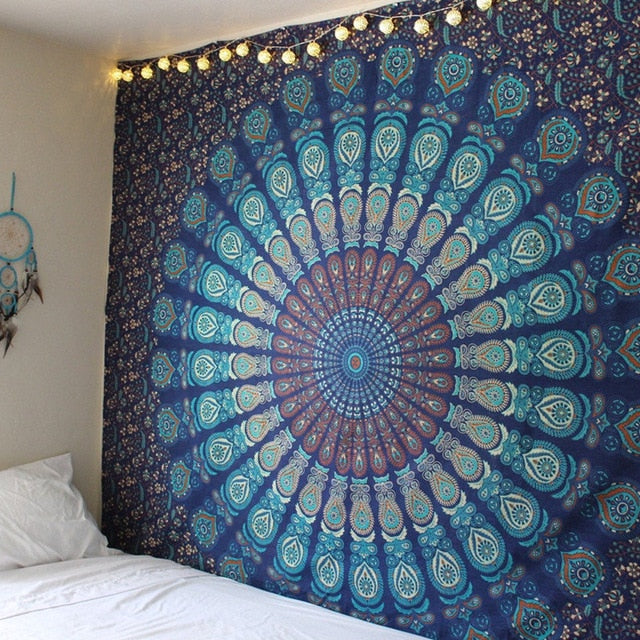 Blue Feather Mandala Tapestry - dormcy