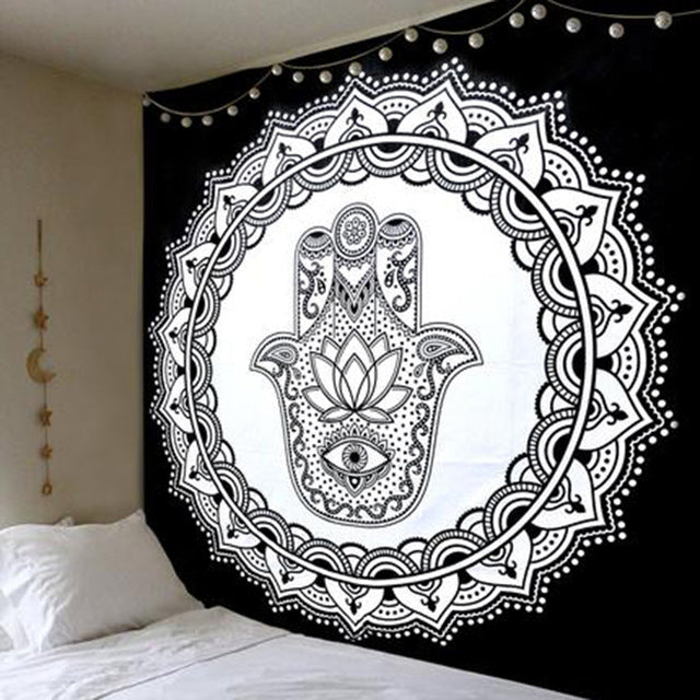 Black Palm Mandala Tapestry - dormcy