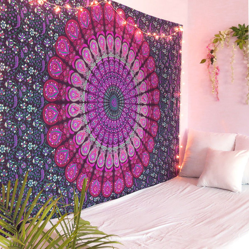 Purple Feather Mandala Tapestry - dormcy