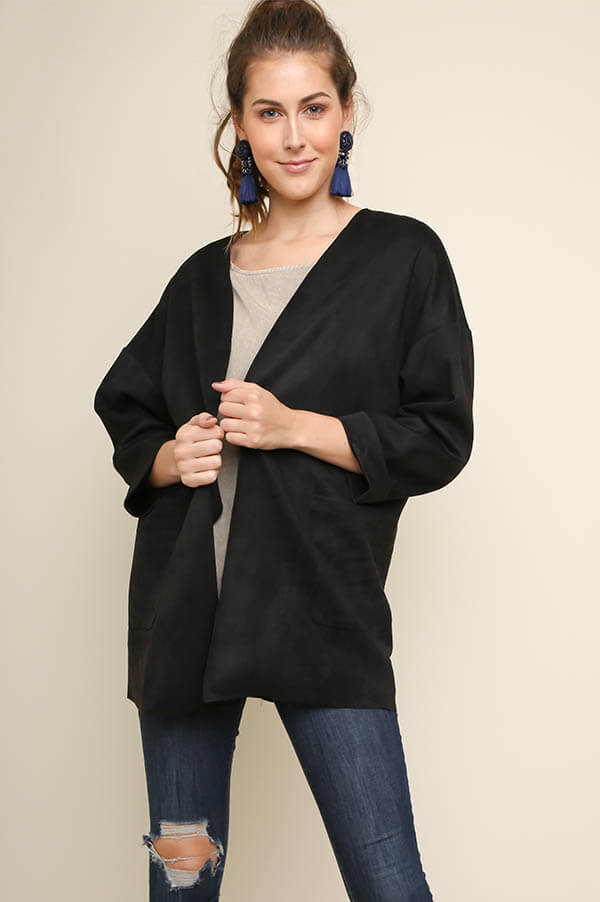 Blackout Suede Open Duster