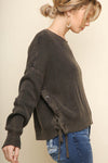 Topaz Acid Washed Laced Sweater