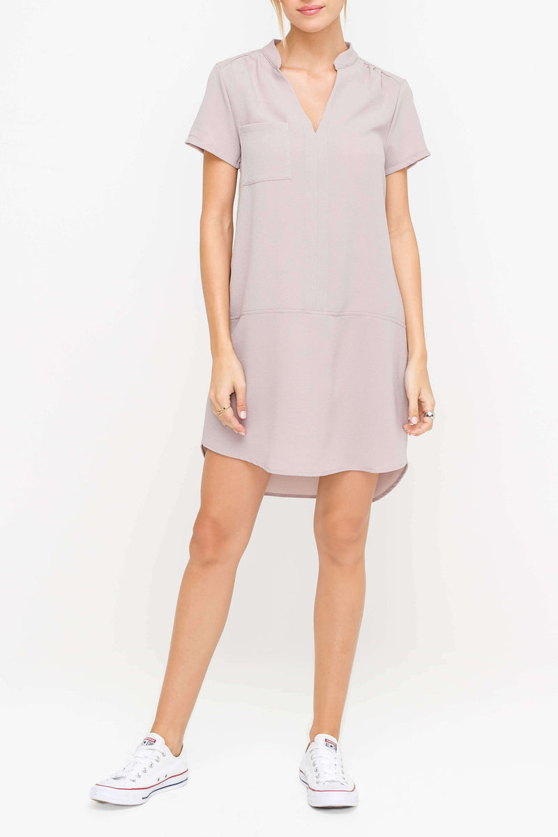 Light Grey V-neck High-Low Woven Work Dress