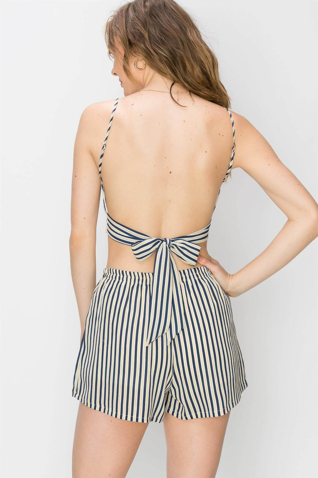 Backless pinstripe top and blouse for women