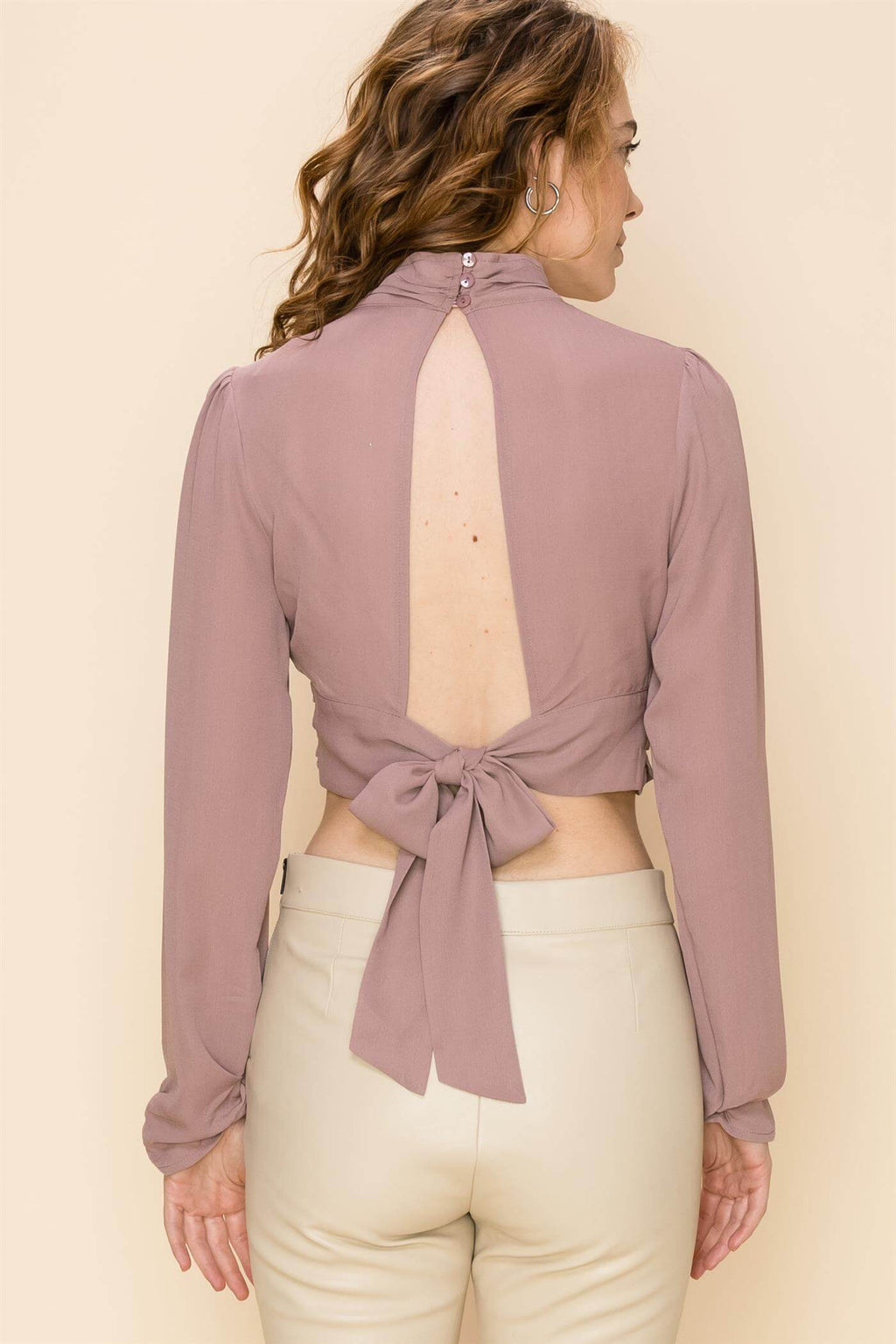Want You Open Back Crop Blouse