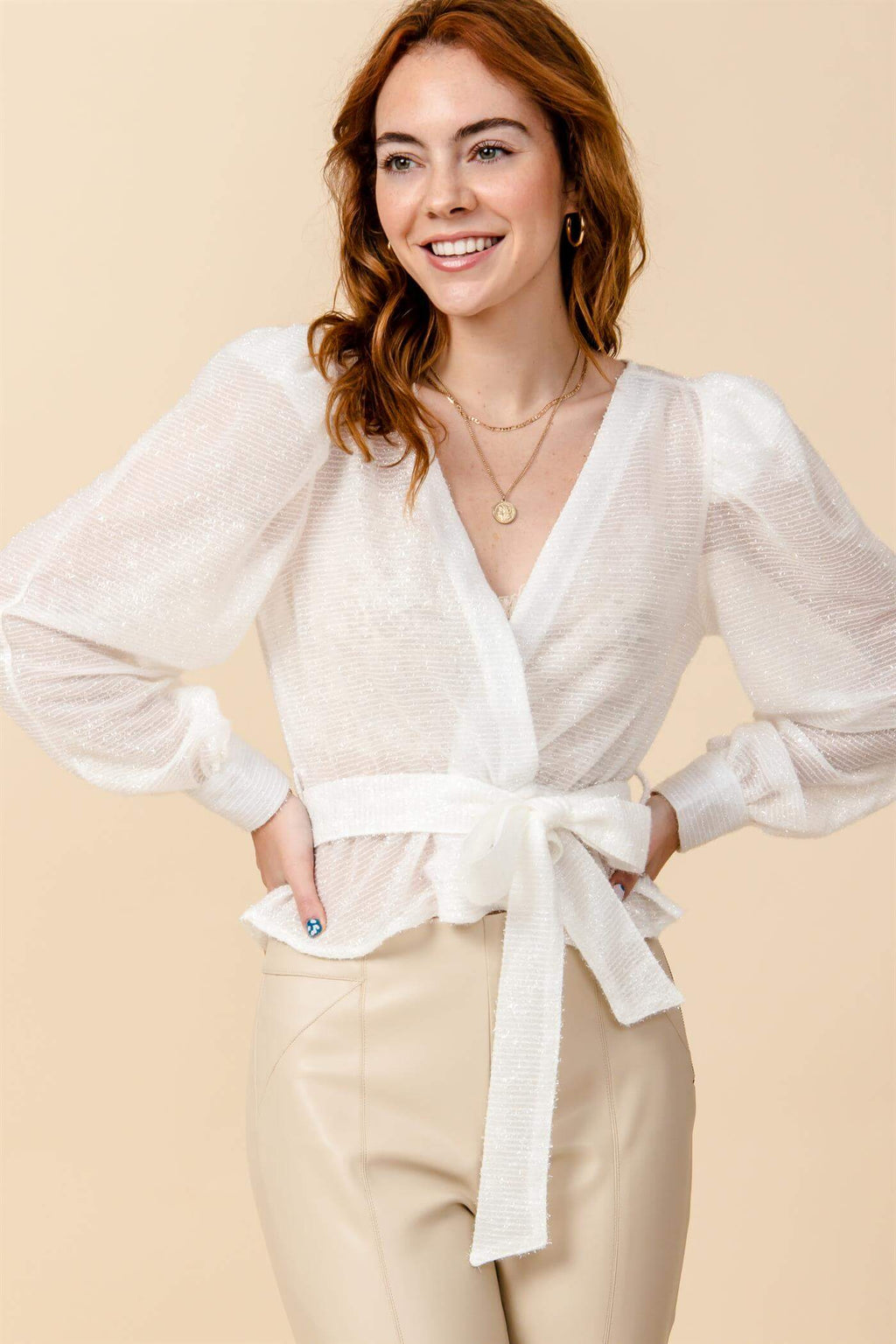Shimmer Me Up Wrap Blouse