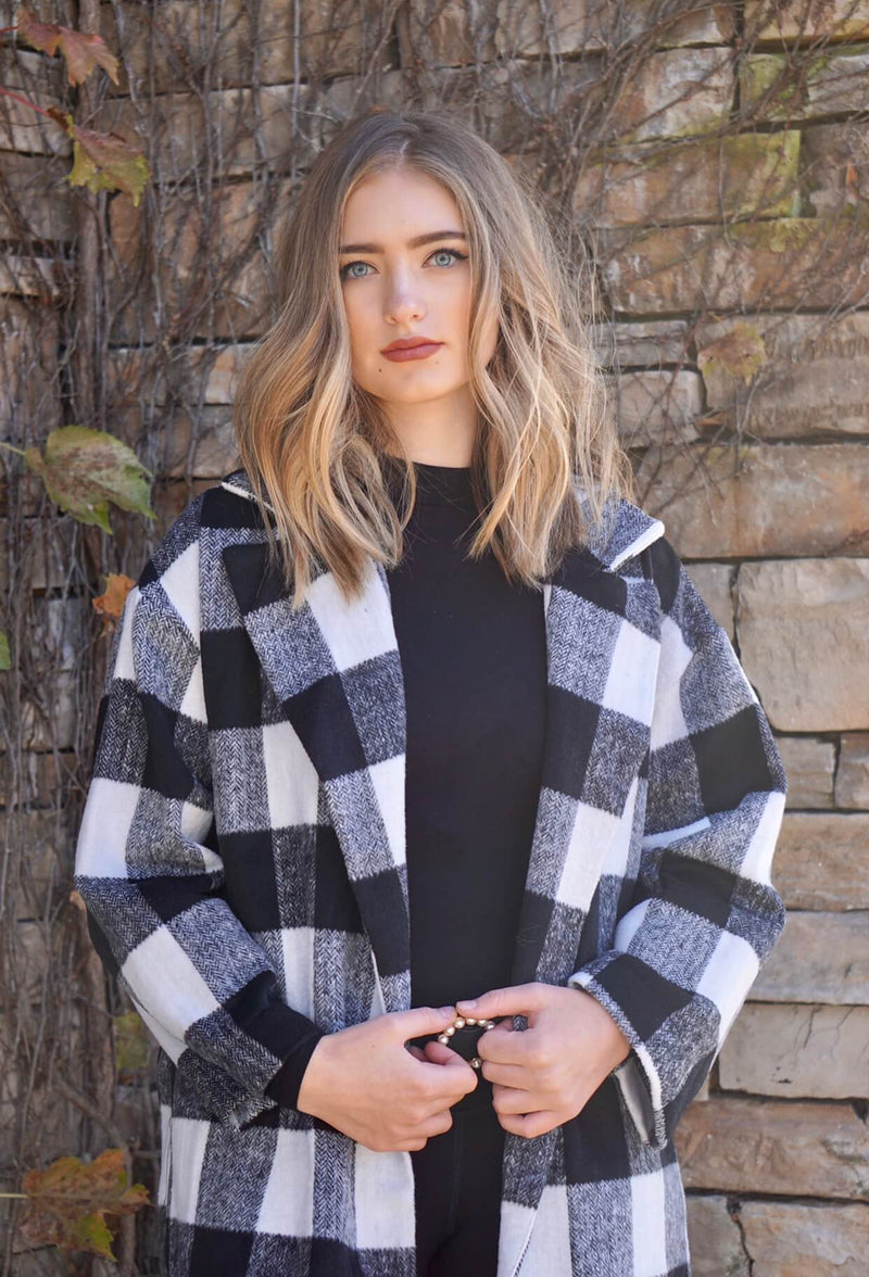 Black and Cream Plaid Oversized Coat