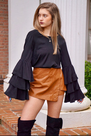 Black Long Sleeve Tiered Deep V Backless Blouse