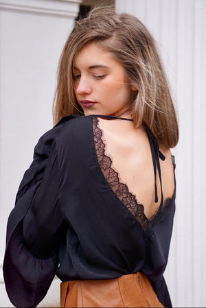 Backless Black Long Sleeve Blouse