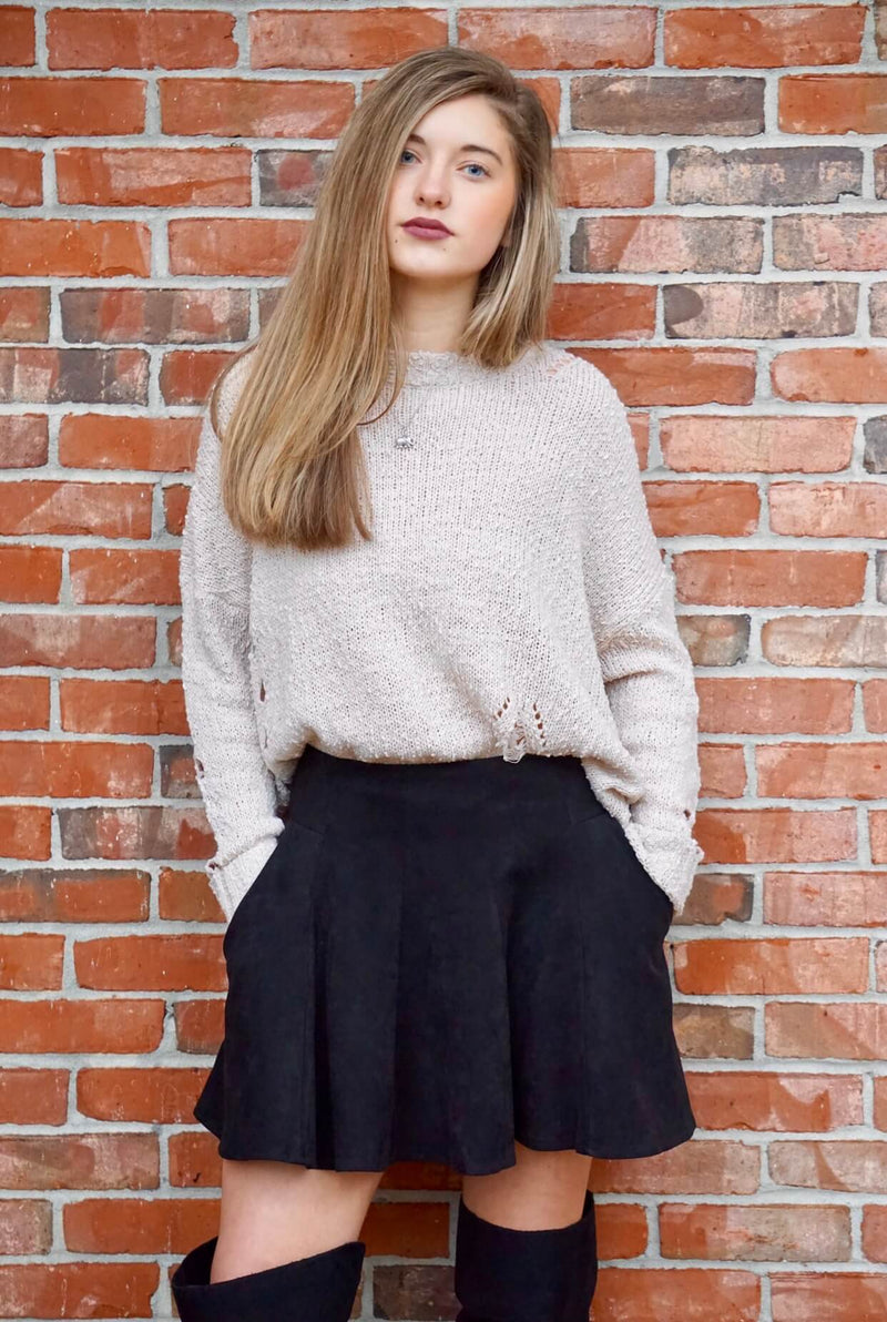 Black Suede Skater Skirt with Pockets