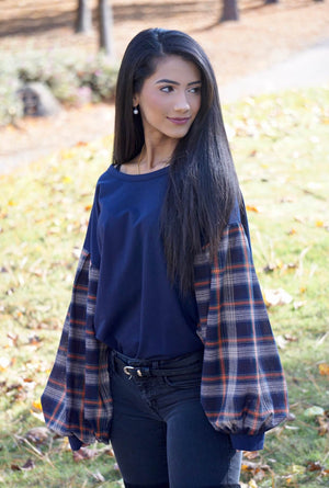 Navy Plaid Paneled Balloon Sleeve Top