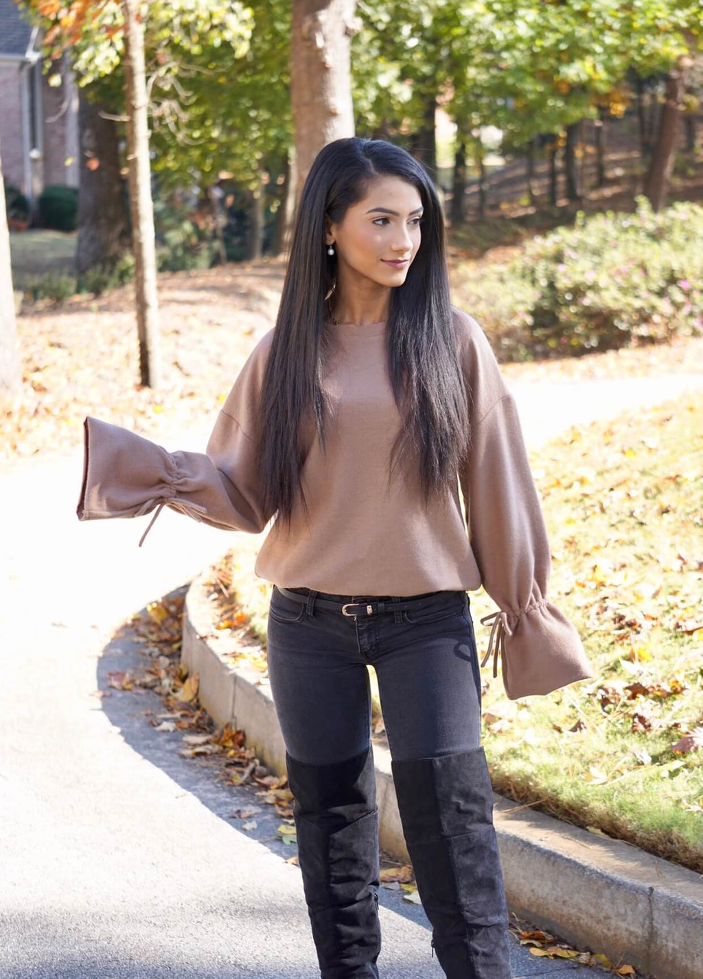 Taupe Adjustable Tie Bell Sleeve Sweater
