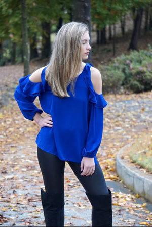 Blue Ruffle Cold Shoulder Blouse