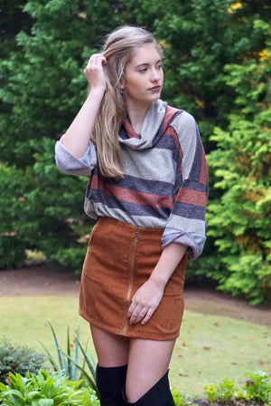 Brown and Grey 3/4 Sleeve Stripe Turtle Neck Top