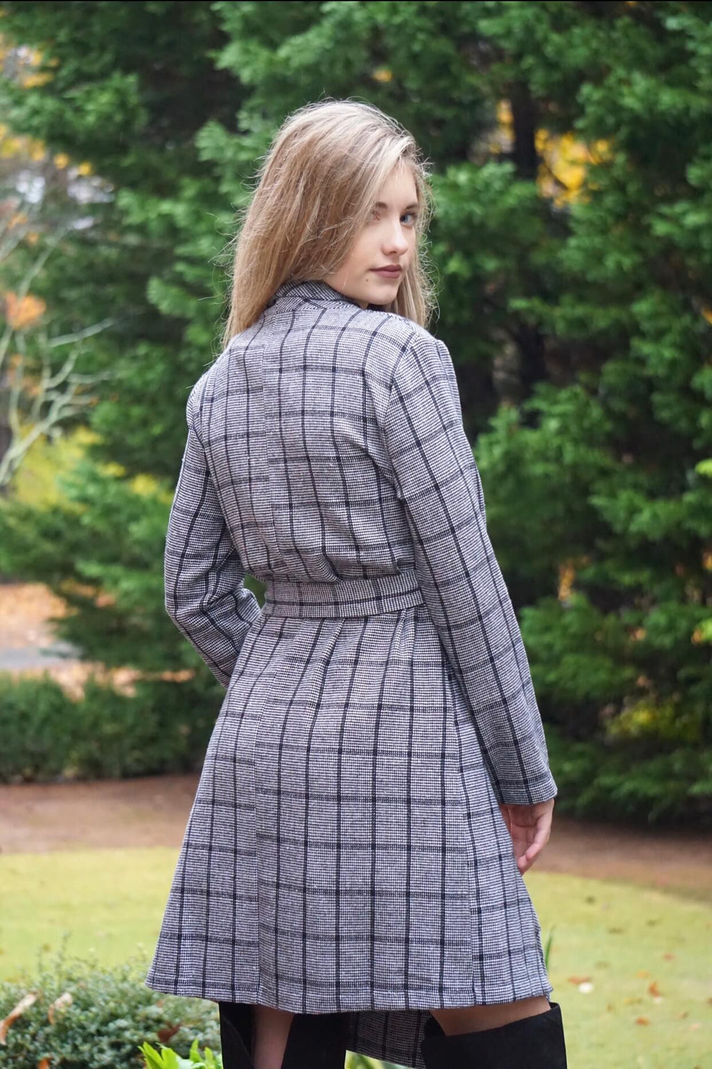 Grey Plaid Tie Long Trench Coat