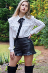 Black Faux Leather Ruffle High-Waisted Shorts