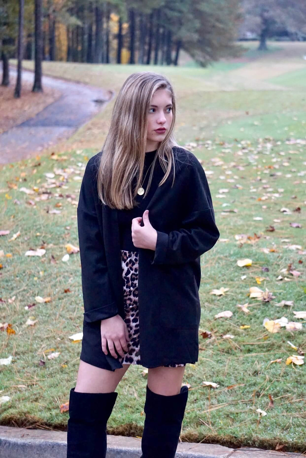 Black Suede Oversized Duster