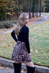 High-Waisted Leopard Skater Skirt