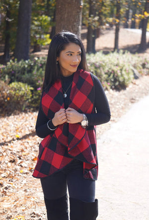 Red Plaid Open-Front Waterfall Pocket Vest
