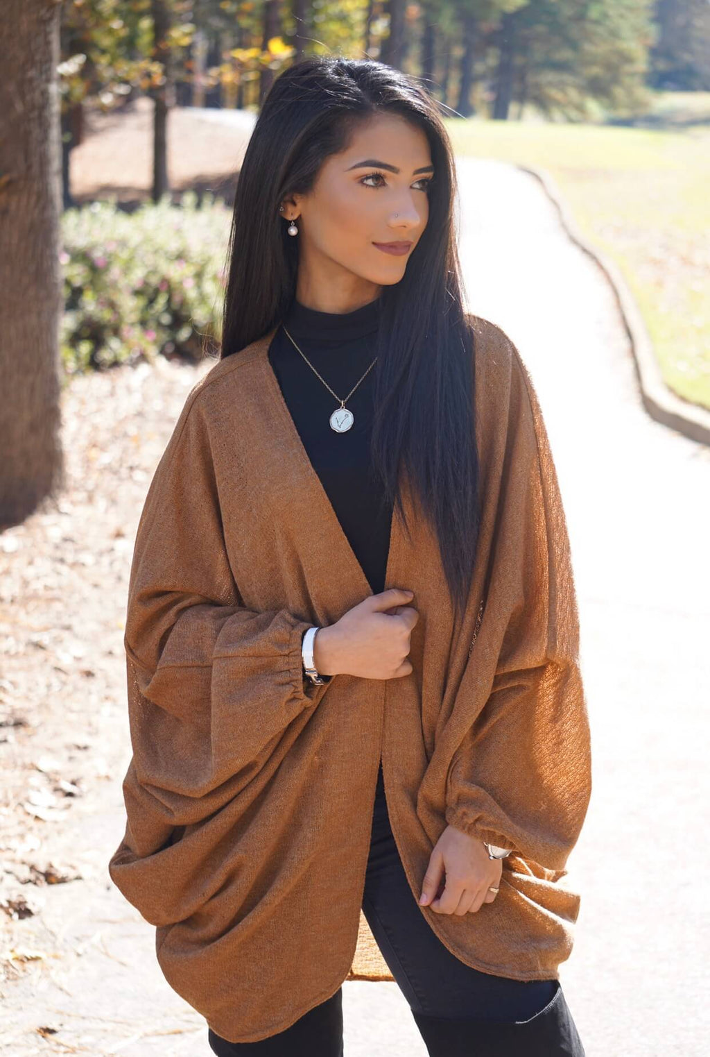 Camel Open-front Oversized Batwing Cardigan